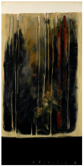 dark black abstract painting