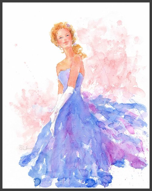 water-color of a beautiful woman in a blue gown