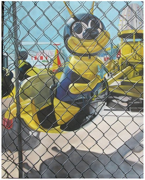 Painting of a bee as scene through a fence