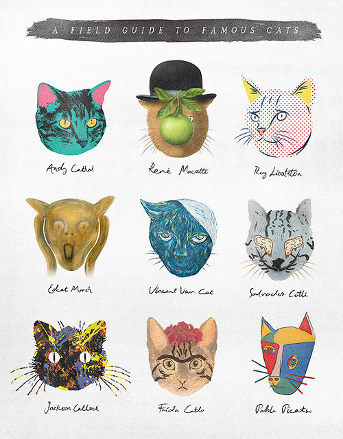 drawings of cats in the style of famous artists such as Andy Warhol and Pablo Picasso