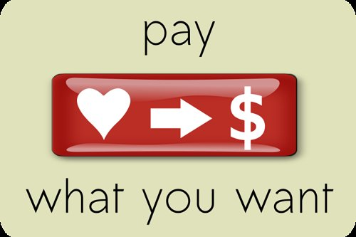 graphic that says pay what you want