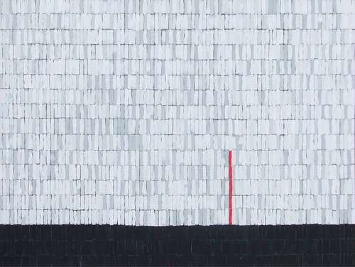 painting of white grid of lines with a black bottom. There is a single red line extending from the black into the white section.