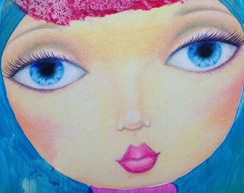 acrylic painting of a woman's face with big eyes