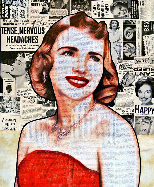 collage of b&w newspaper articles with a woman's face drawn in color