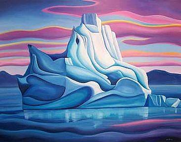 oil painting of an iceberg with purple sky