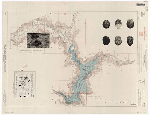 lithograph of a river system. looks like a map with small diagrams on the sides