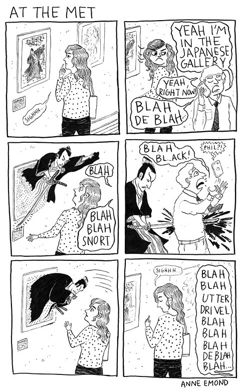 cartoon strip of woman in an art gallery