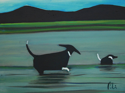 oil painting of two dogs playing in a lake with mountains in the background