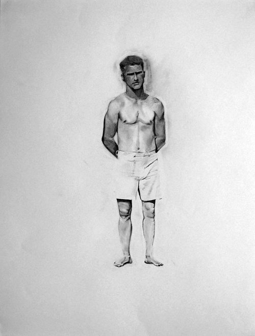 charcoal drawing of a shirtless man wearing white shorts