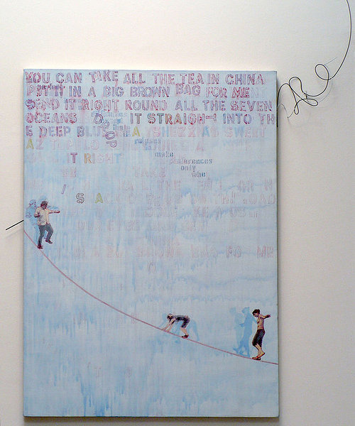 artwork with text and characters walking across a line