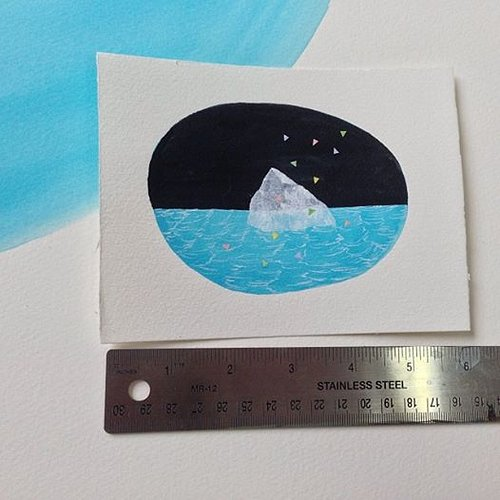 small water color artwork of an iceberg with a ruler beside it to show scale