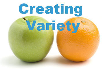 photograph of an apple and orange that has text overlaid that says creating variety