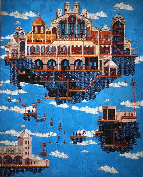 painting of floating houses/castles
