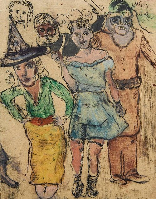 ink drawing of several people in costumes with color shading