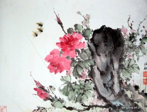 chinese water-colour painting of flowers