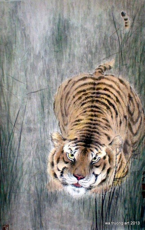 watercolor painting of a tiger
