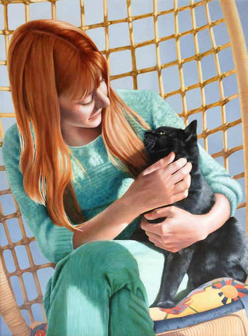 realistic painting of red haired woman holder a black cat