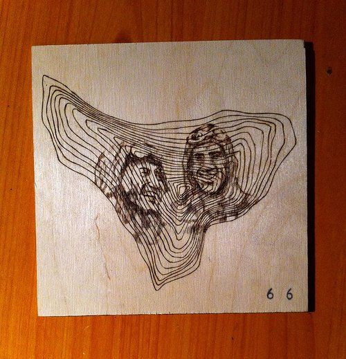 drawing on wood of two people and tree rings overlaid