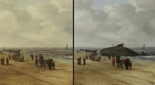 before and after image of a painting that shows a beached whale