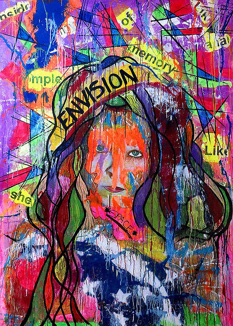 painting of a woman's face in abstract style with text and geometric shapes