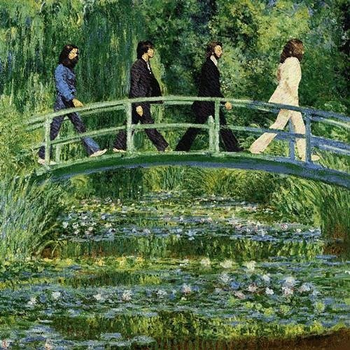 Beatles band members walking through a Monet painting