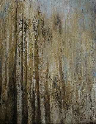 An abstracted painting of birch trees in neutral colours