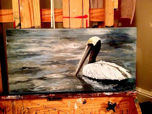 Painting of a pelican floating in water