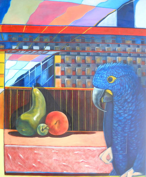 An oil painting of a blue parrot next to a bowl of fruit