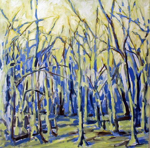 A very loose oil painting of a grove of bare trees, using blue and yellow tones