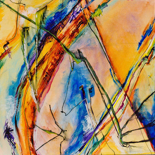 An abstract painting with overlapping lines of orange and blue tones