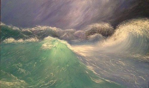 A painting of waves crashing in the ocean