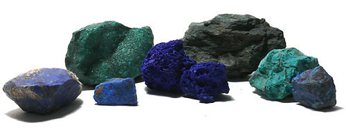 Semi precious stones and materials for pigments