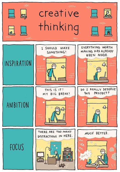 Creative thinking comic strip