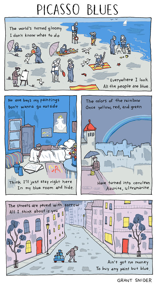 Comic about Picassos blue period.