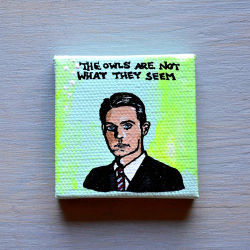 A tiny portrait painting of Dale Cooper from Twin Peaks