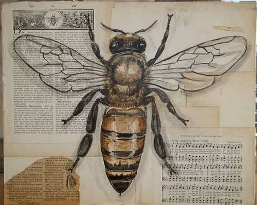 A painting of a bee over scraps of old paper