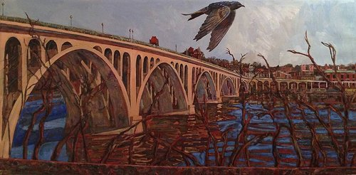 An oil painting of a bird flying in front of an old bridge