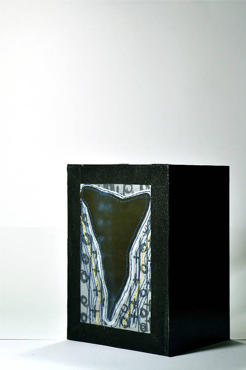 A small abstract sculpture in a shadowbox frame