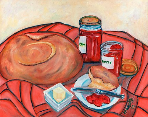 A still-life painting of a loaf of bread, butter, and jars of jam