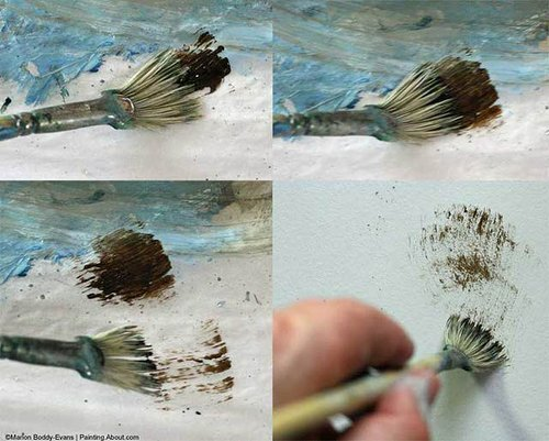 dry brush painting with a fan brush