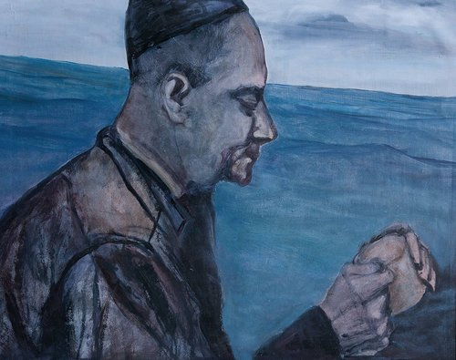 An oil painting of a fisherman's profile on a blue background