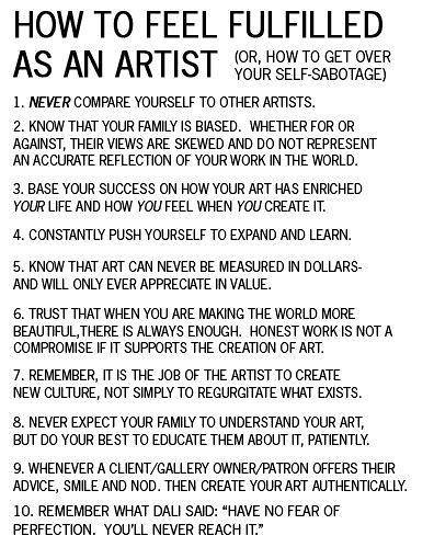 How to feel fulfilled as an artist