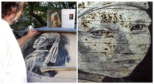 Classic art drawn into dust on a car