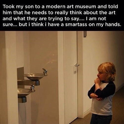 Son at a modern art museum