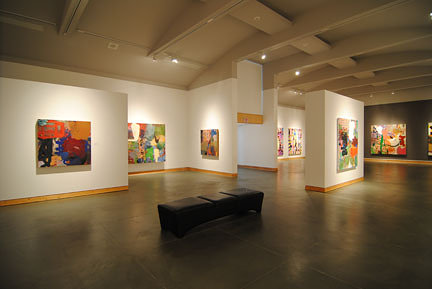 wide angle view of an art gallery