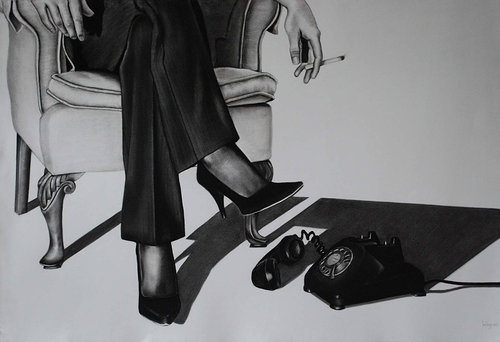 A charcoal drawing of a woman sitting in a chair, smoking and waiting for a phone to ring