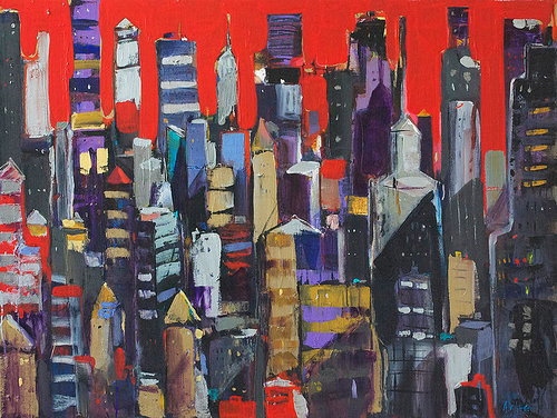 A brightly coloured acrylic painting of a city skyline, with imaginitive perpective