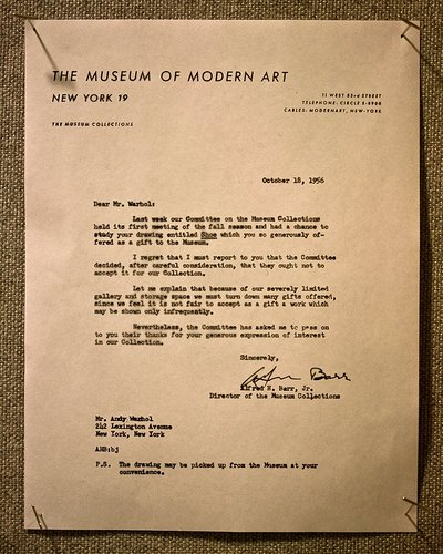 Museum of Modern Art's rejection letter to Andy Warhol