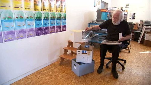 A photo of John Baldessari in his studio