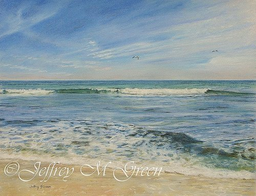 A pastel drawing of an ocean landscape